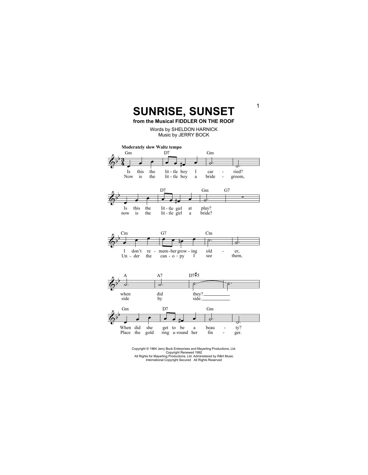 Sheldon Harnick Sunrise Sunset Sheet Music