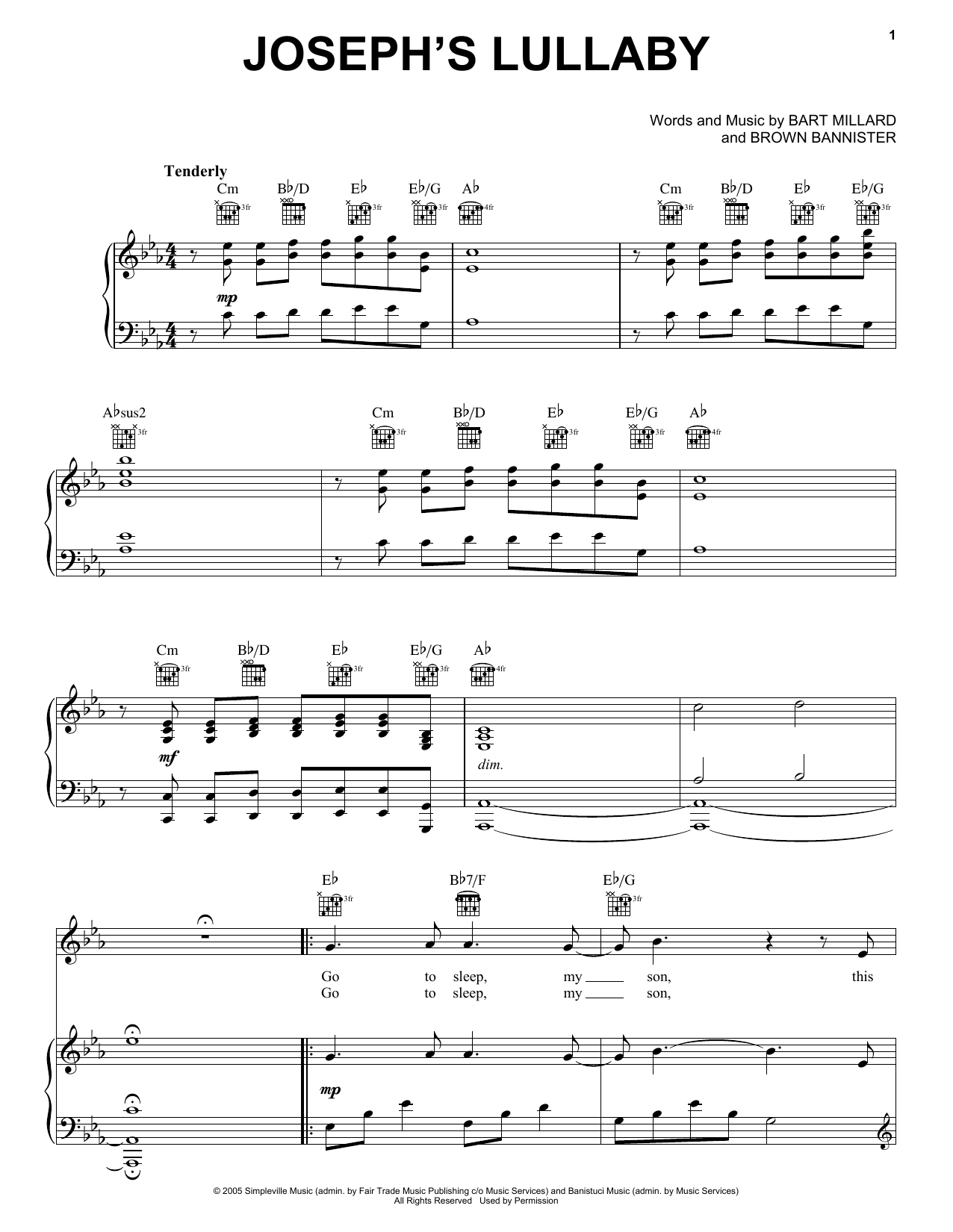 Joseph's Lullaby (Piano, Vocal & Guitar (Right-Hand Melody))