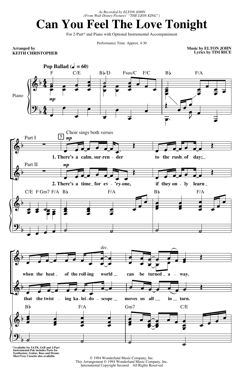 Can You Feel The Love Tonight (from The Lion King) (arr. Keith Christopher) (2-Part Choir)