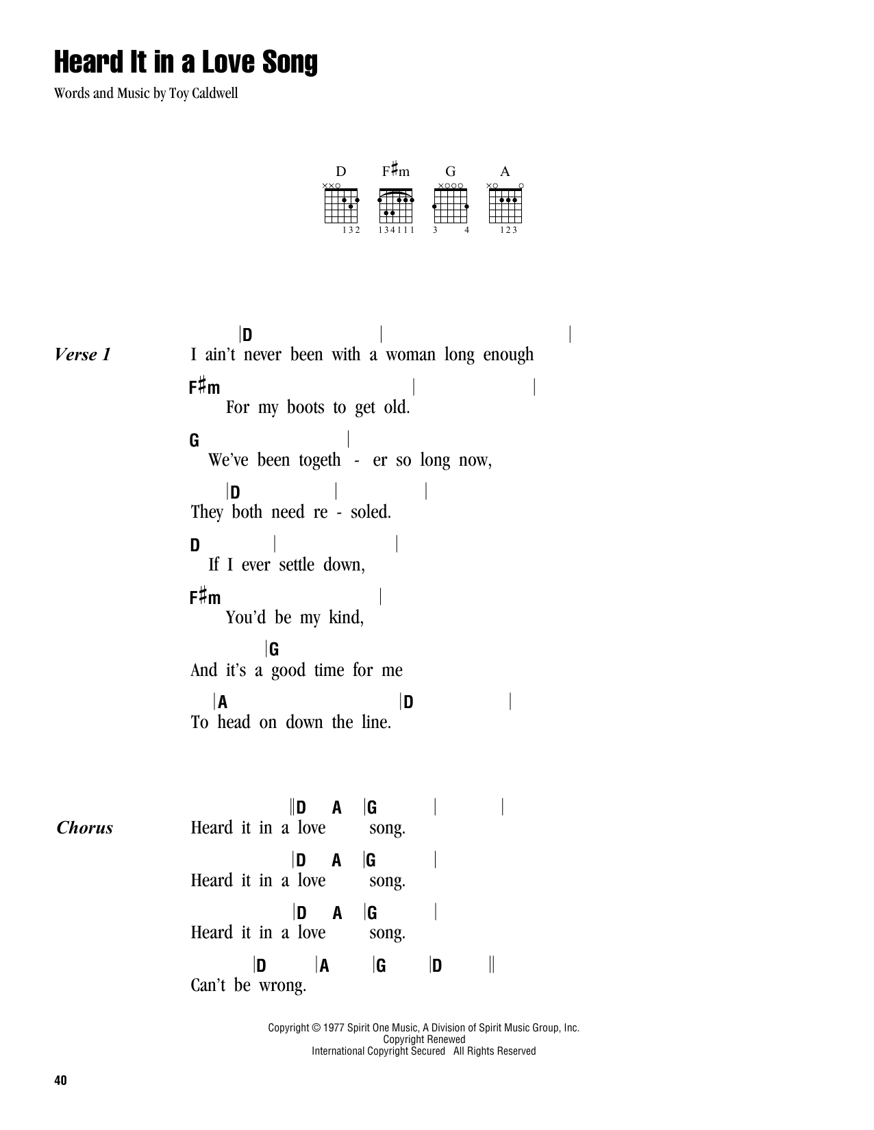 Heard It In A Love Song By Marshall Tucker Band Guitar Chords