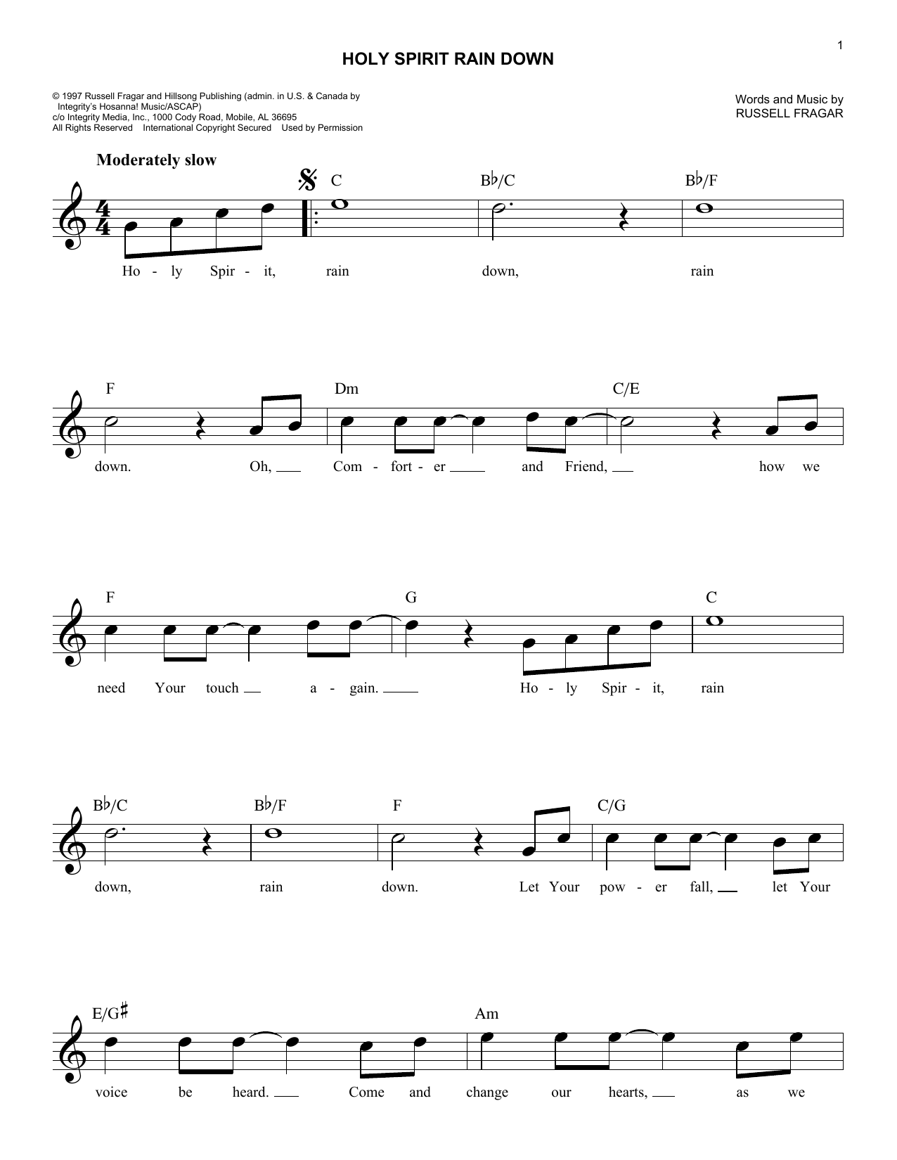 Holy Spirit Rain Down (Lead Sheet / Fake Book)