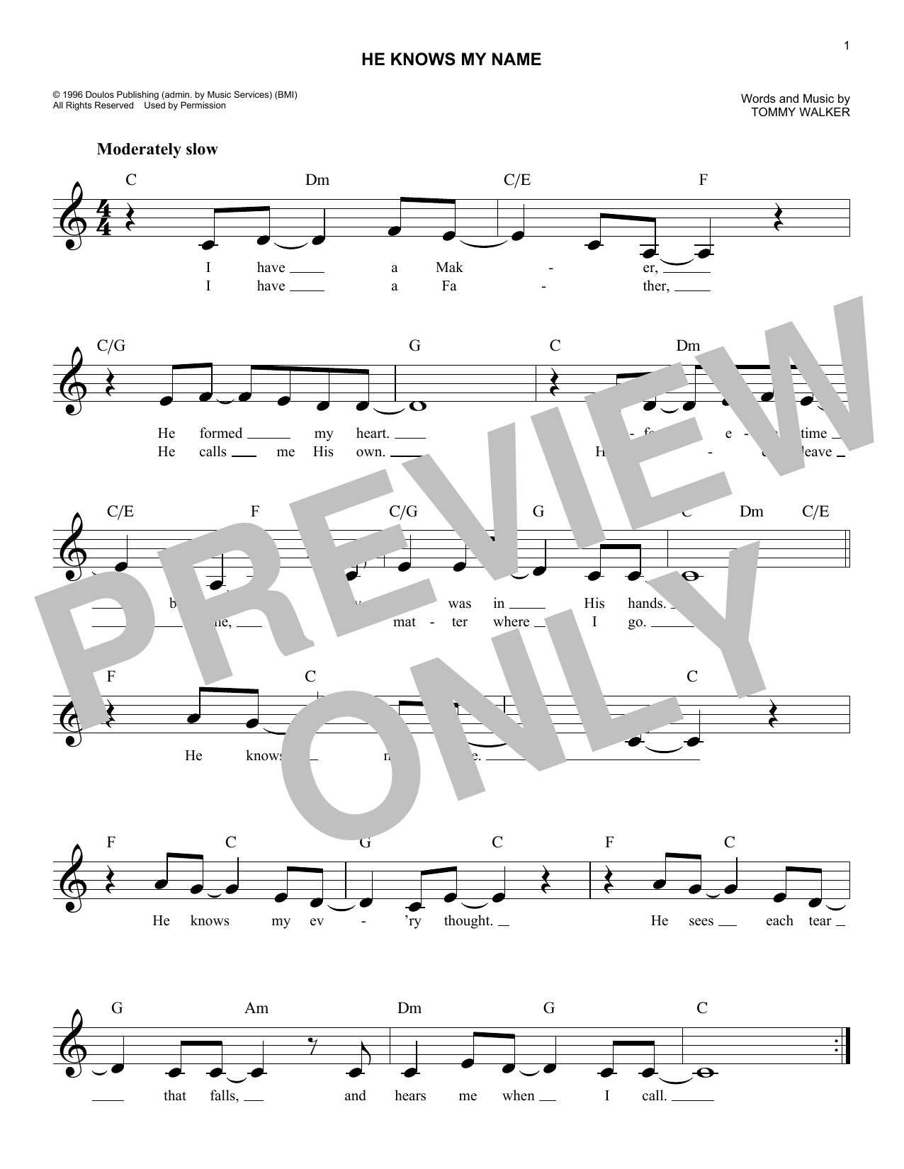 He Knows My Name (Lead Sheet / Fake Book)