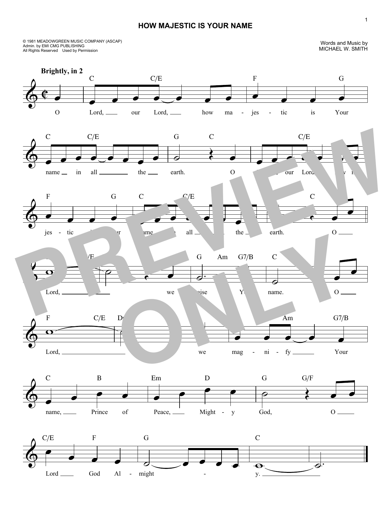 How Majestic Is Your Name (Lead Sheet / Fake Book)