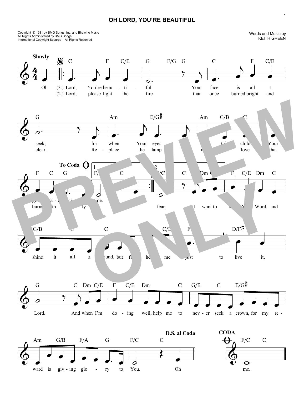 O Lord, You're Beautiful (Lead Sheet / Fake Book)