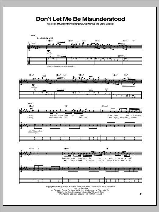 Don't Let Me Be Misunderstood Sheet Music
