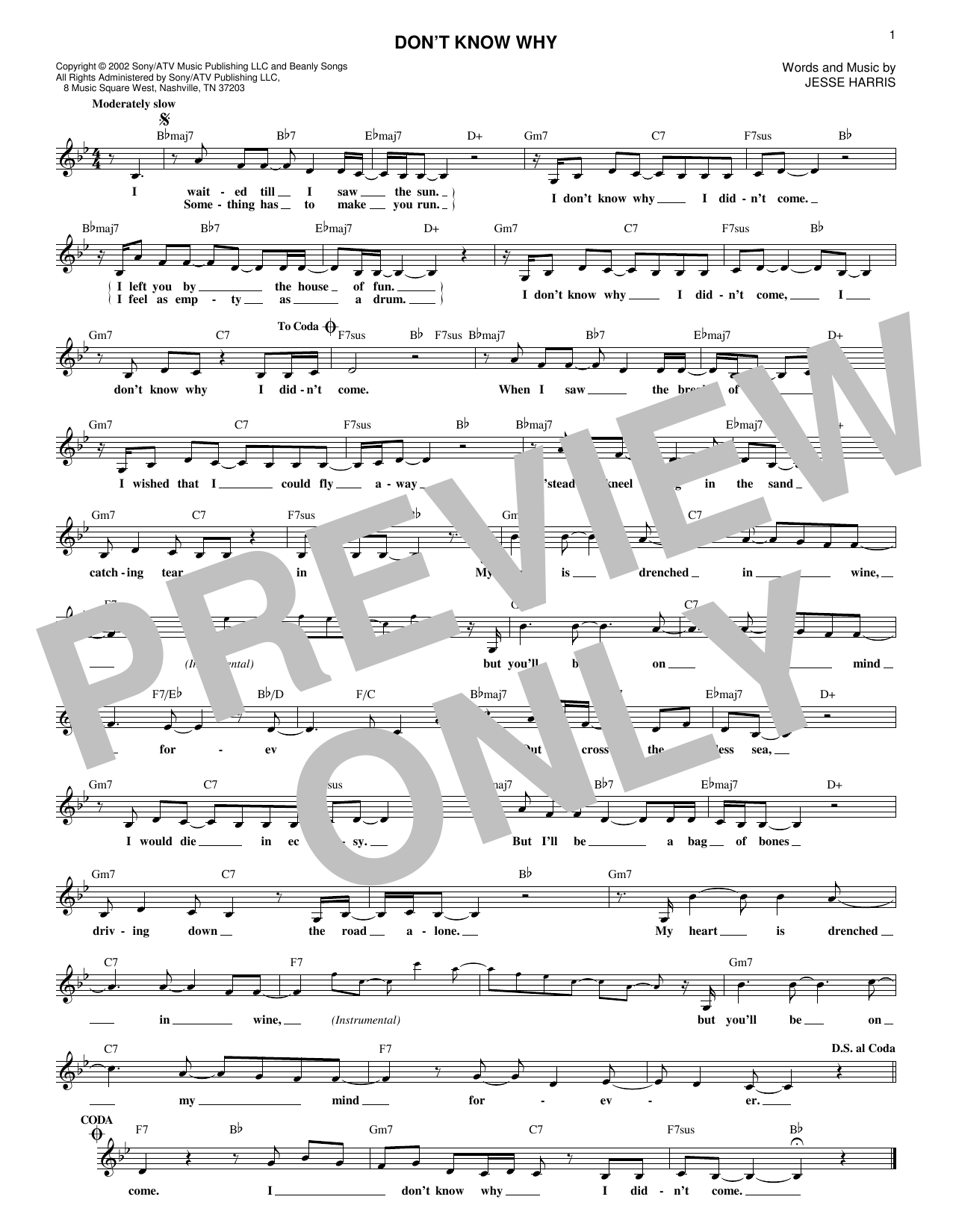Don't Know Why (Lead Sheet / Fake Book)