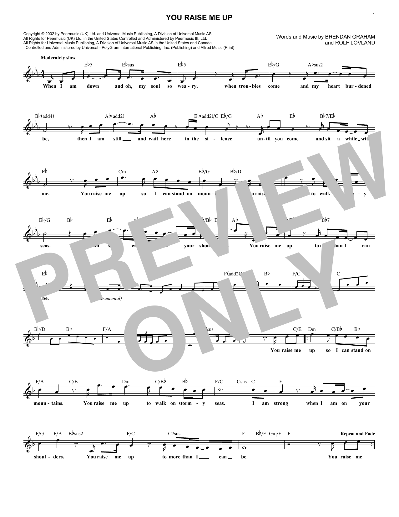 You Raise Me Up (Lead Sheet / Fake Book)