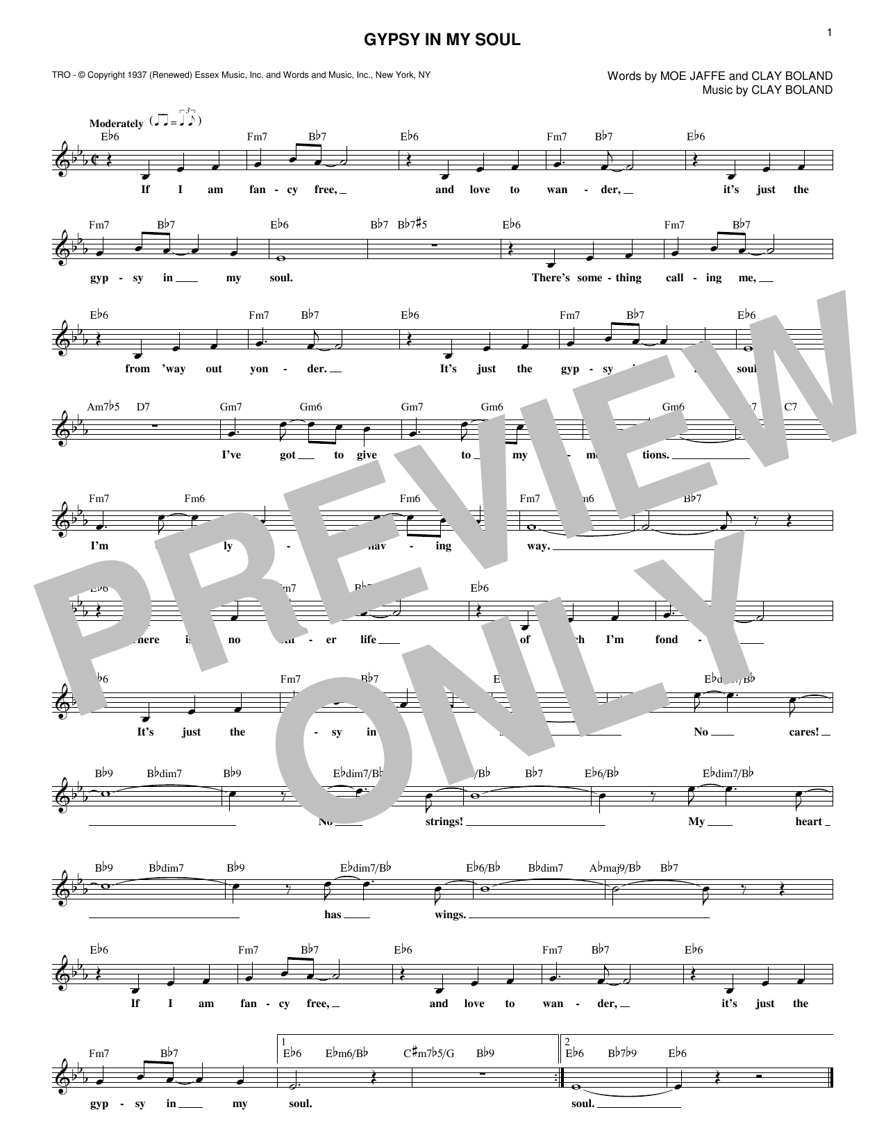 Gypsy In My Soul (Lead Sheet / Fake Book)