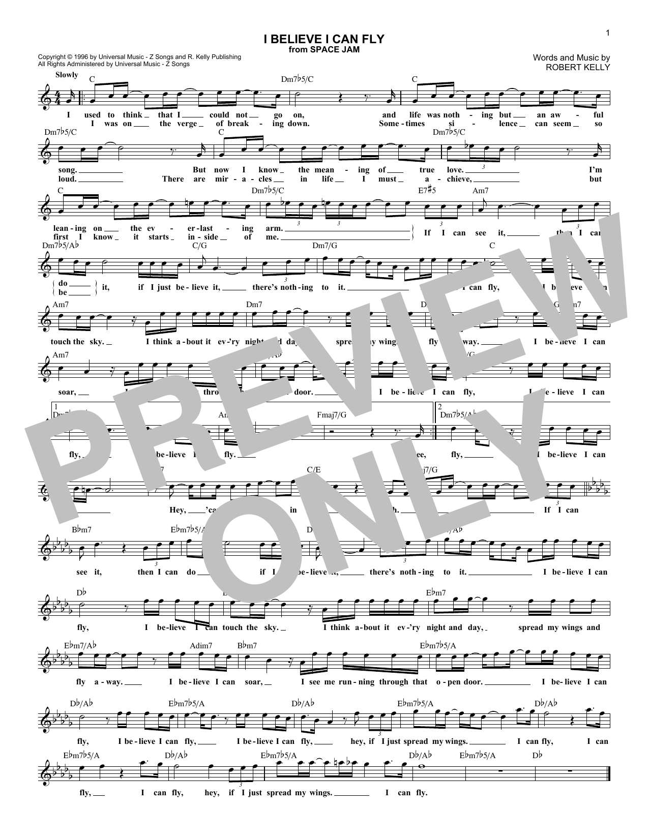 I Believe I Can Fly (Lead Sheet / Fake Book)