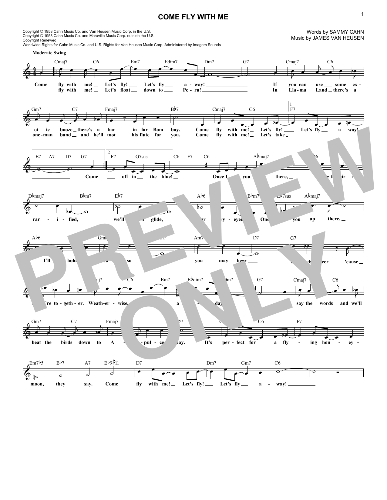 Come Fly With Me (Melody Line, Lyrics & Chords)