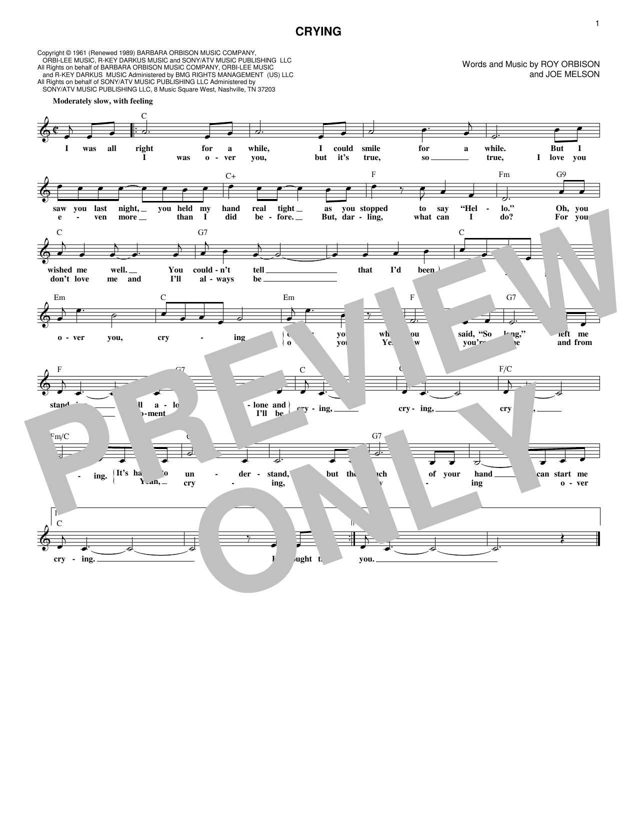 Crying (Lead Sheet / Fake Book)