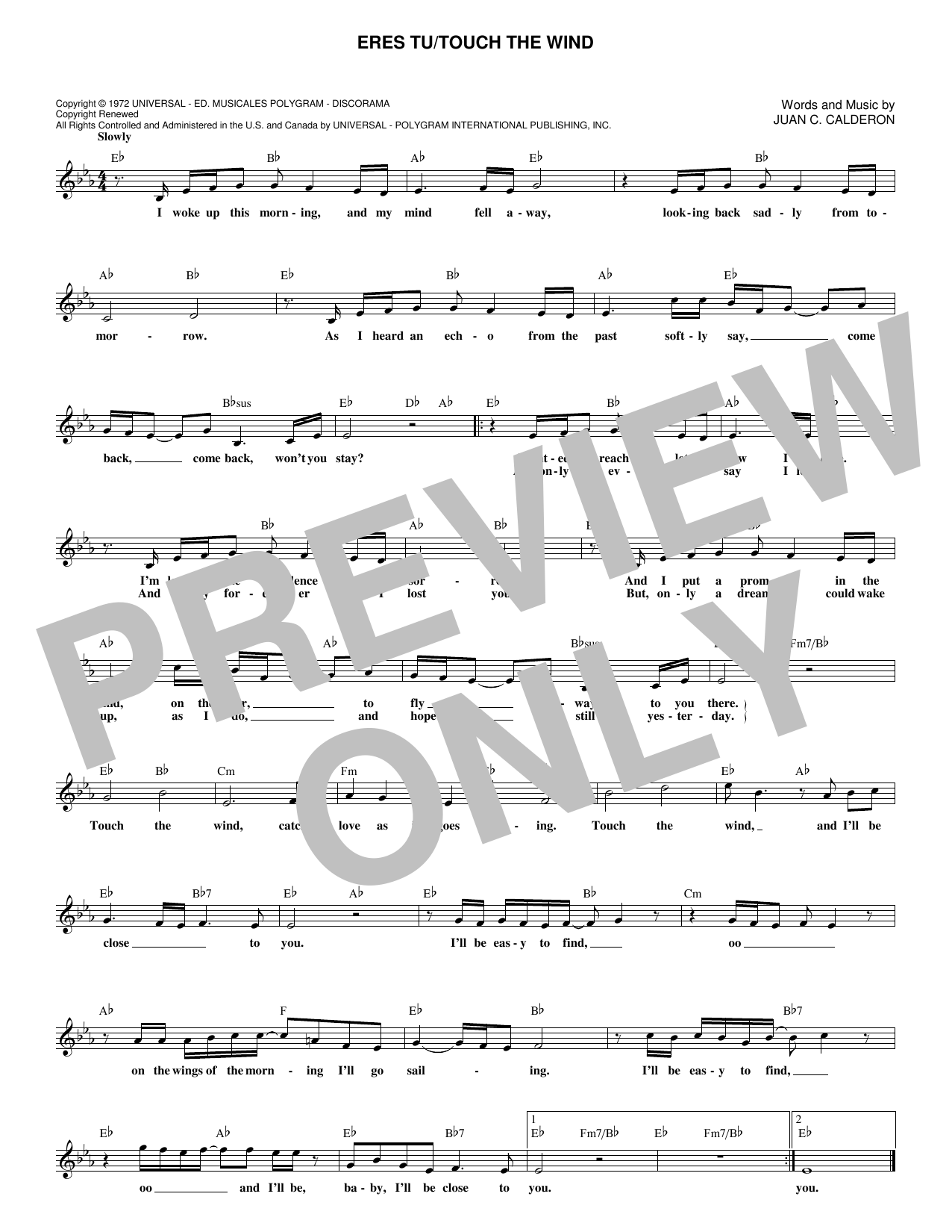 Eres Tu/Touch The Wind (Lead Sheet / Fake Book)