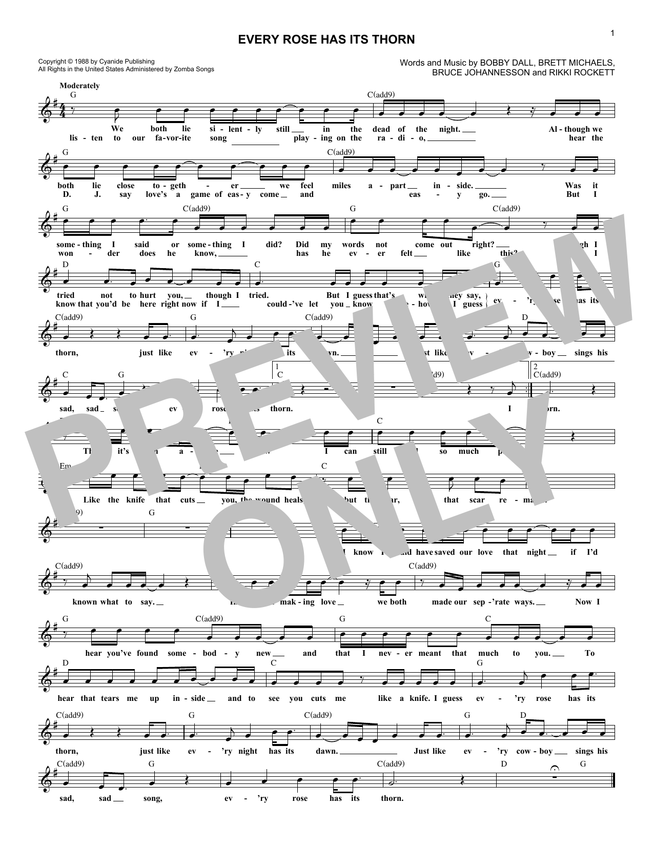 Every Rose Has Its Thorn (Lead Sheet / Fake Book)