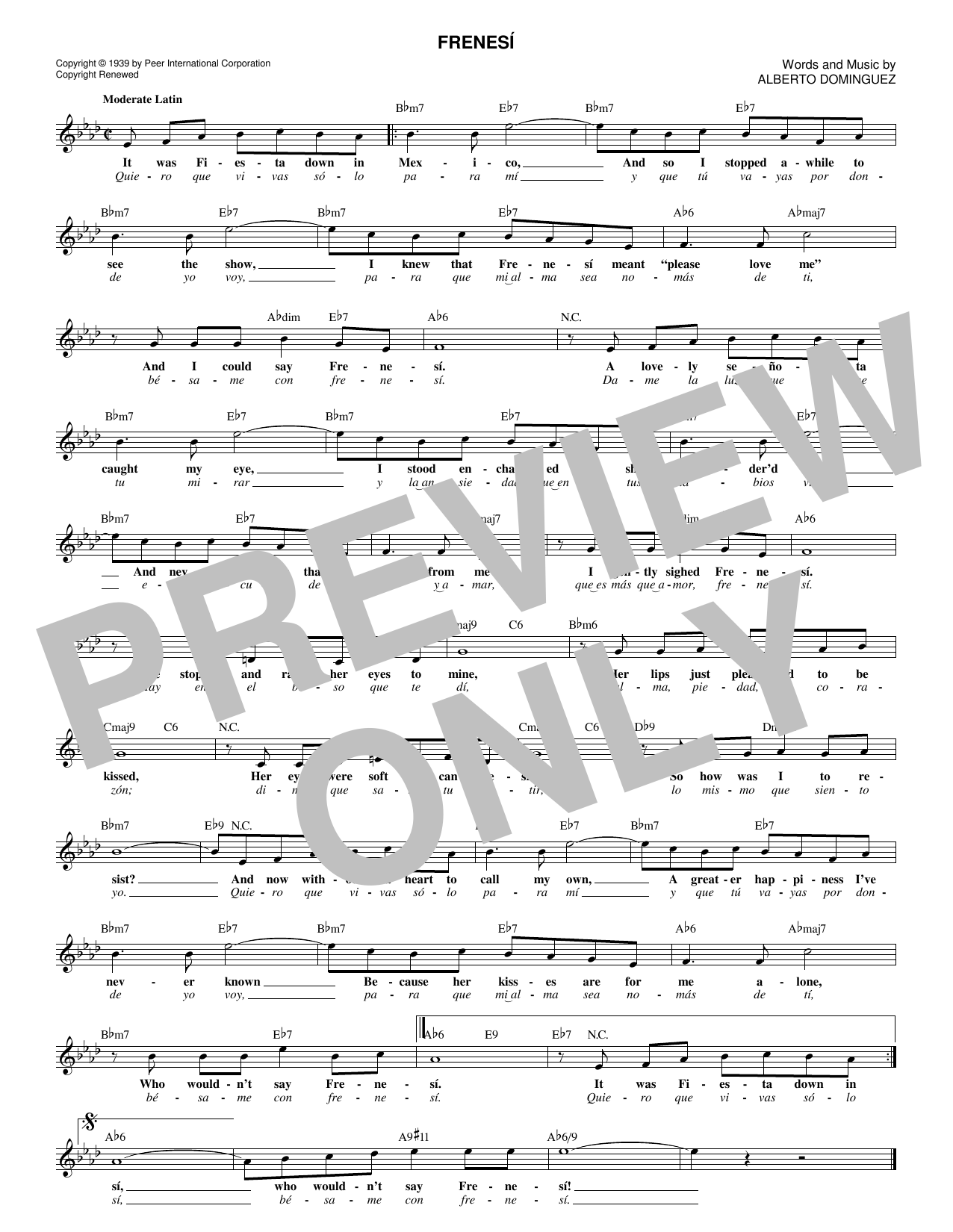 Frenesí (Lead Sheet / Fake Book)