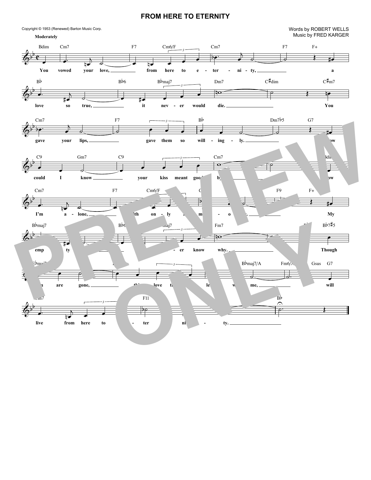 From Here To Eternity (Lead Sheet / Fake Book)