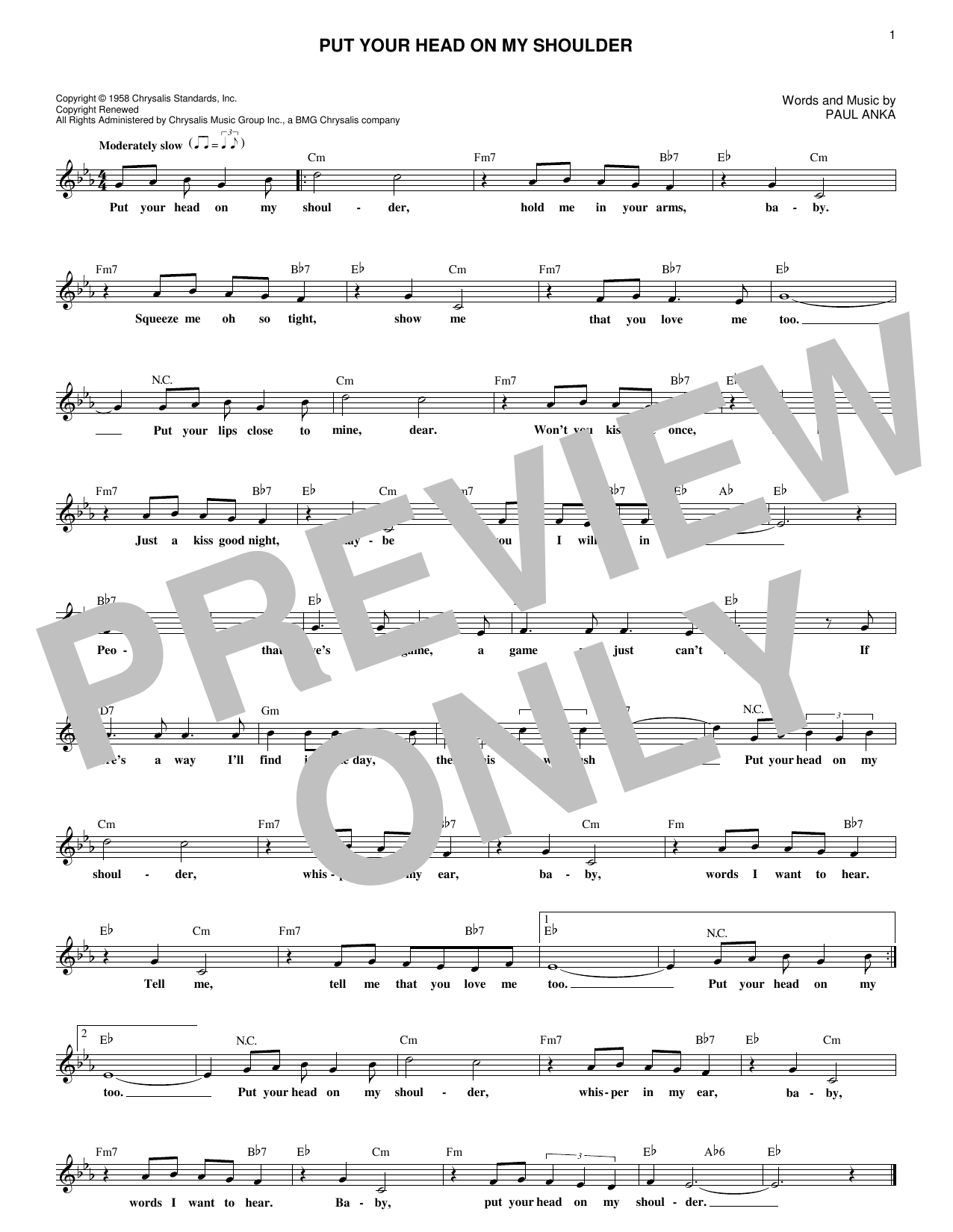 Put Your Head On My Shoulder (Lead Sheet / Fake Book)