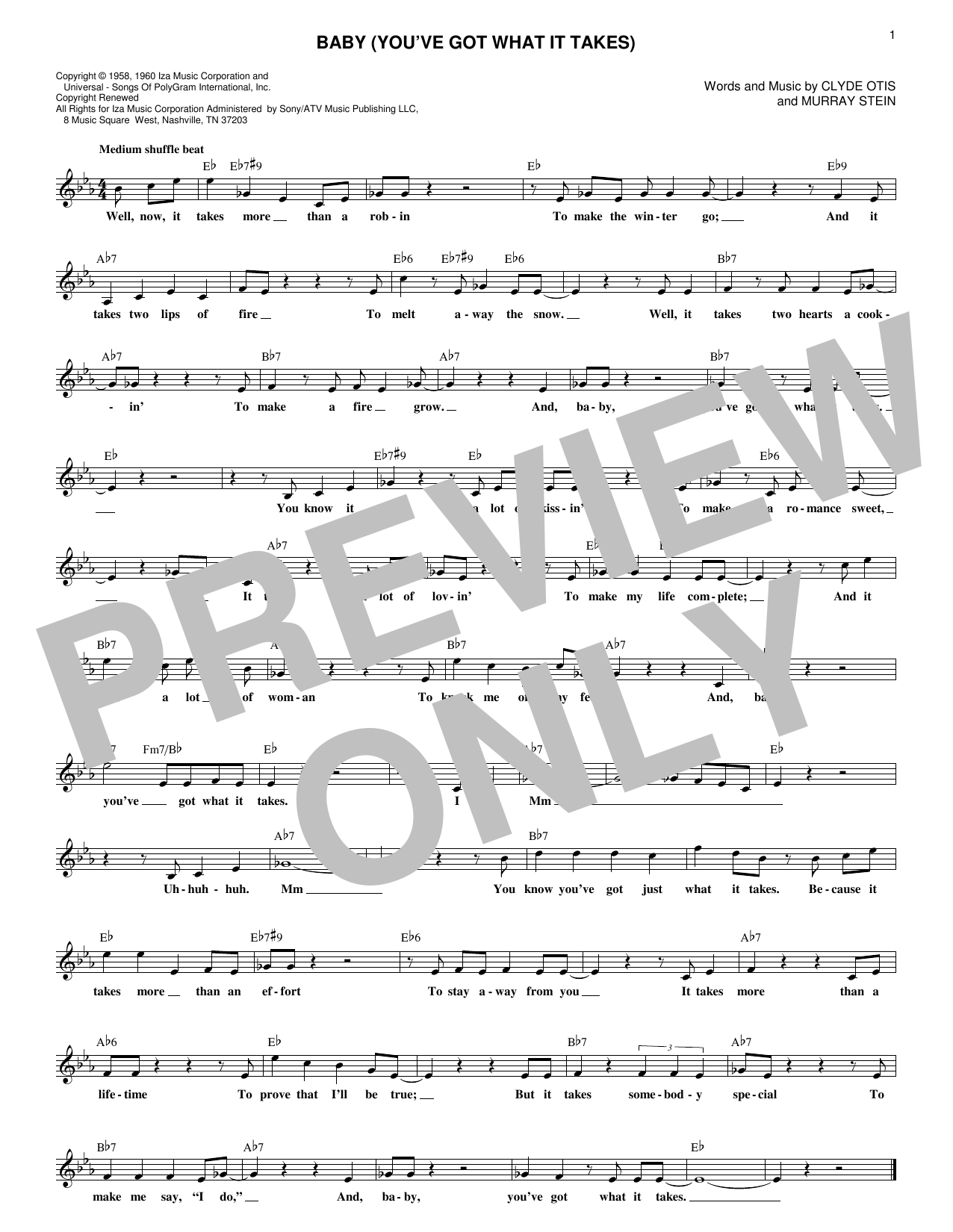 Baby (You've Got What It Takes) (Lead Sheet / Fake Book)