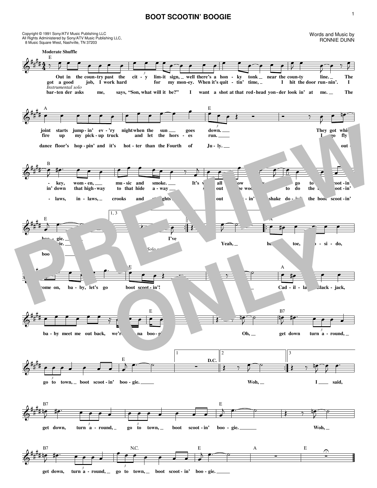 Boot Scootin' Boogie (Lead Sheet / Fake Book)