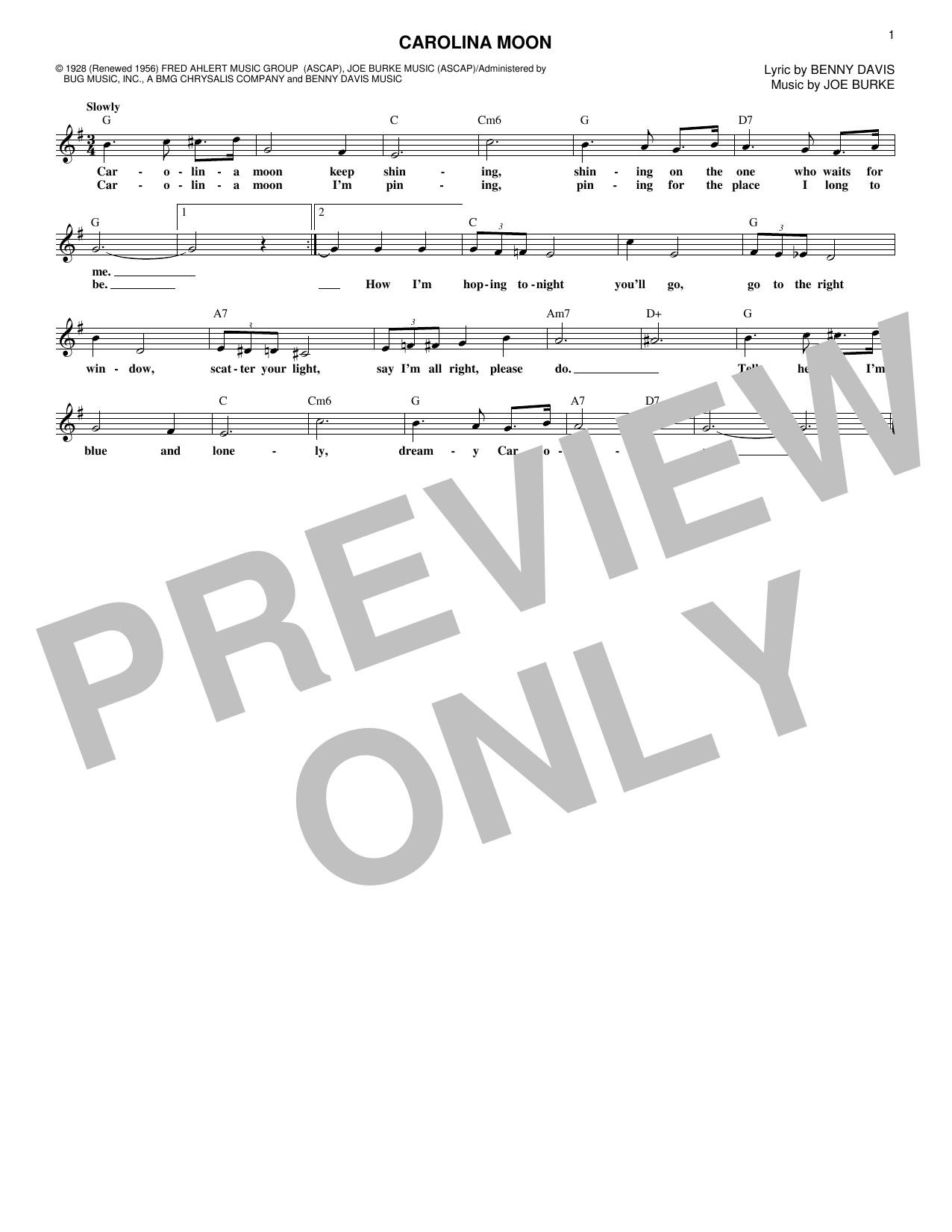 Carolina Moon (Melody Line, Lyrics & Chords)