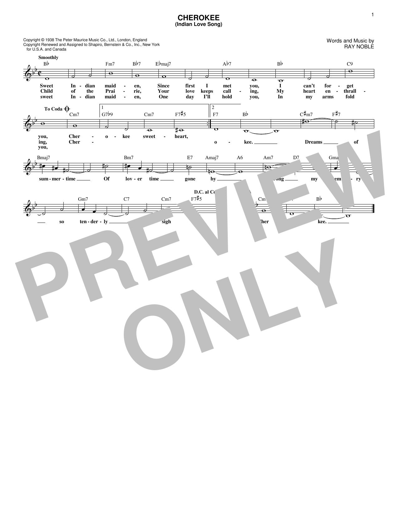 Cherokee (Indian Love Song) (Lead Sheet / Fake Book)