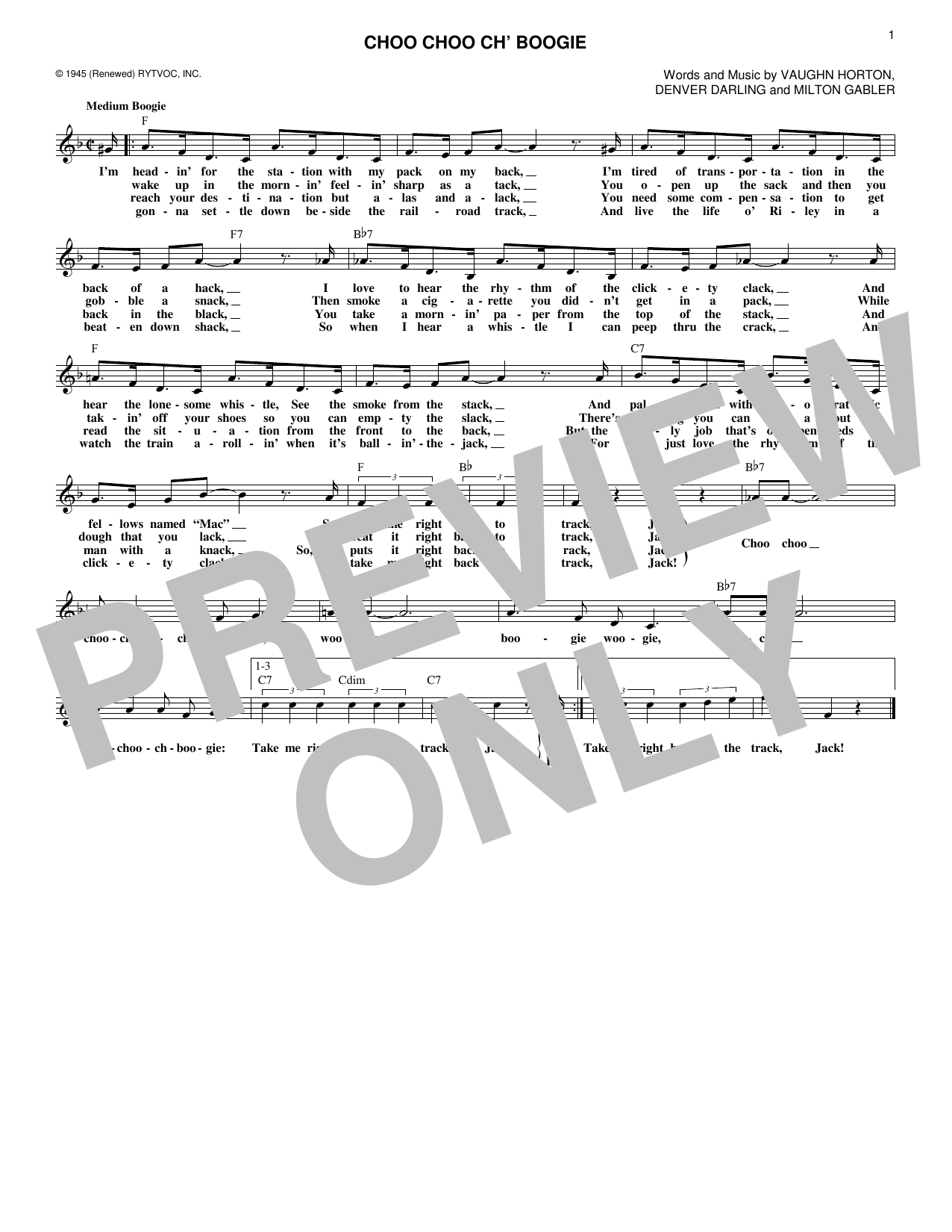 Choo Choo Ch' Boogie (Lead Sheet / Fake Book)