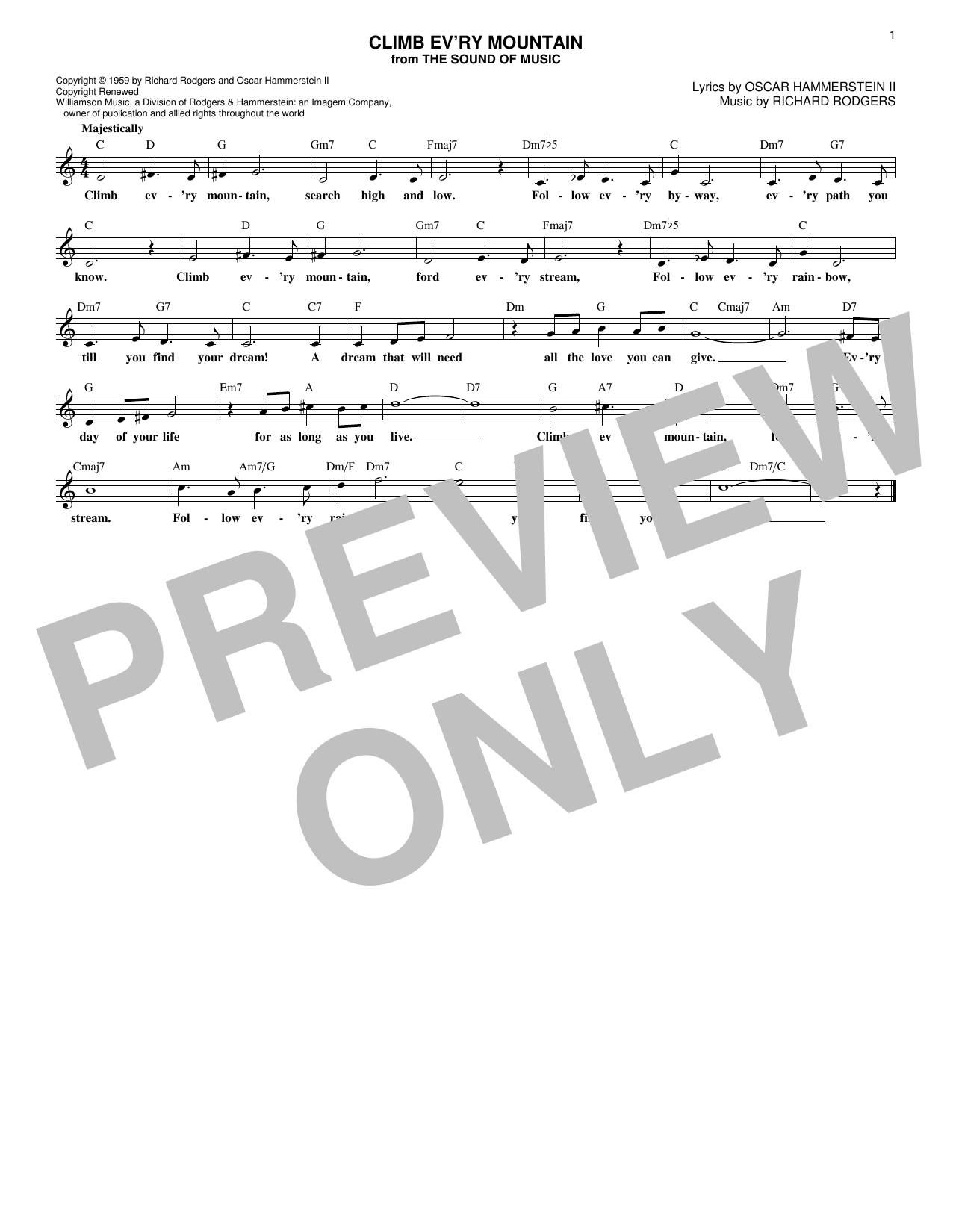 Climb Ev'ry Mountain (from The Sound of Music) (Lead Sheet / Fake Book)