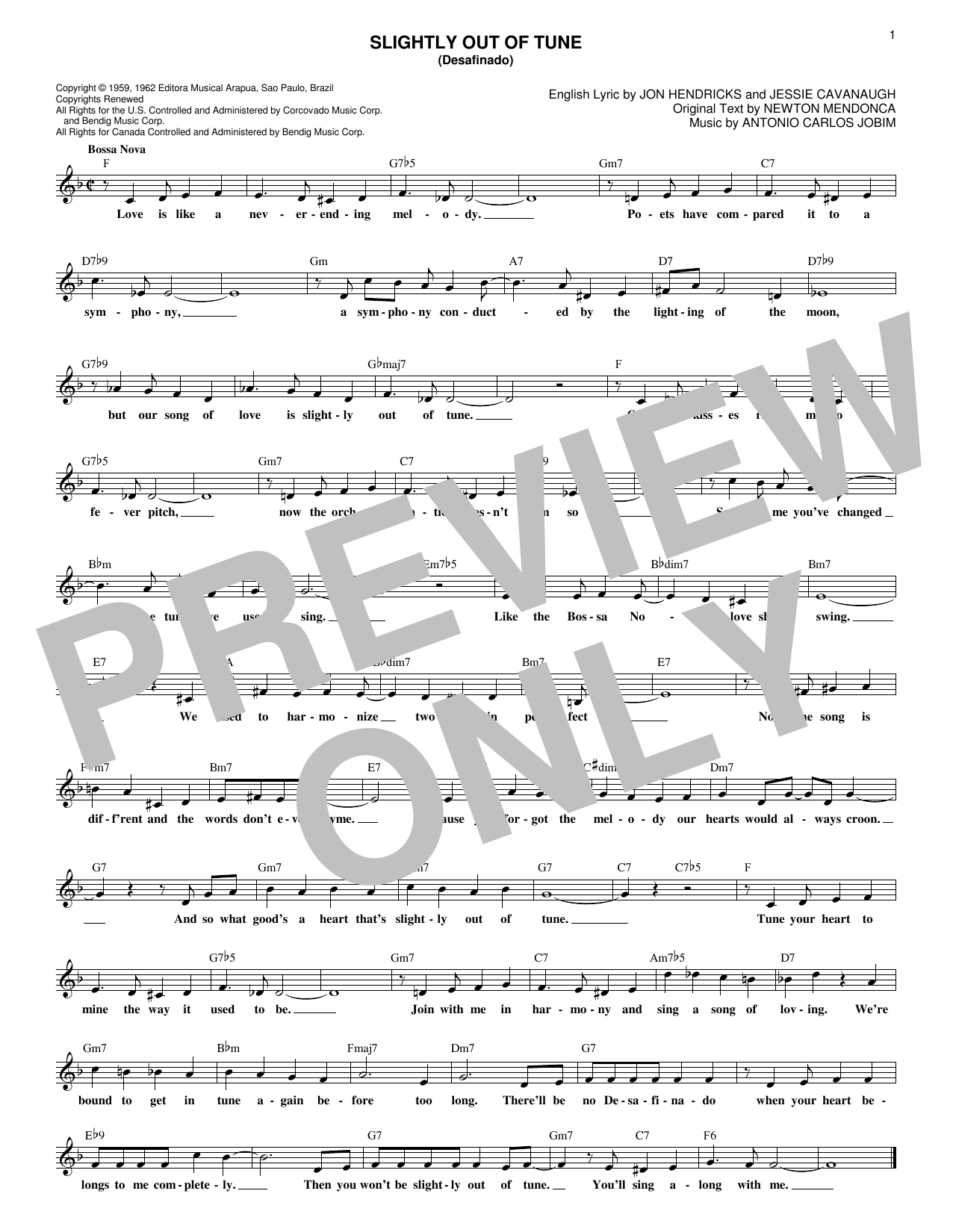 Slightly Out Of Tune (Desafinado) (Lead Sheet / Fake Book)