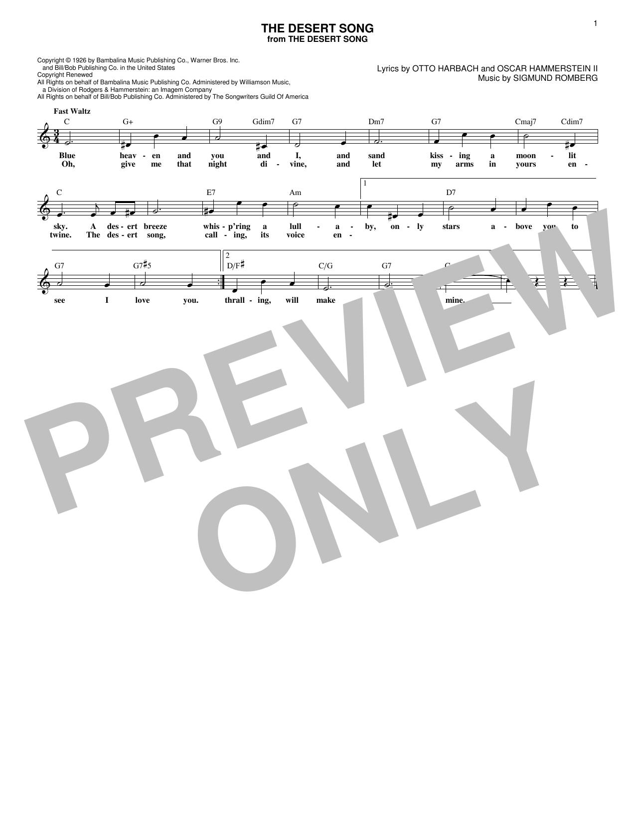The Desert Song (Lead Sheet / Fake Book)
