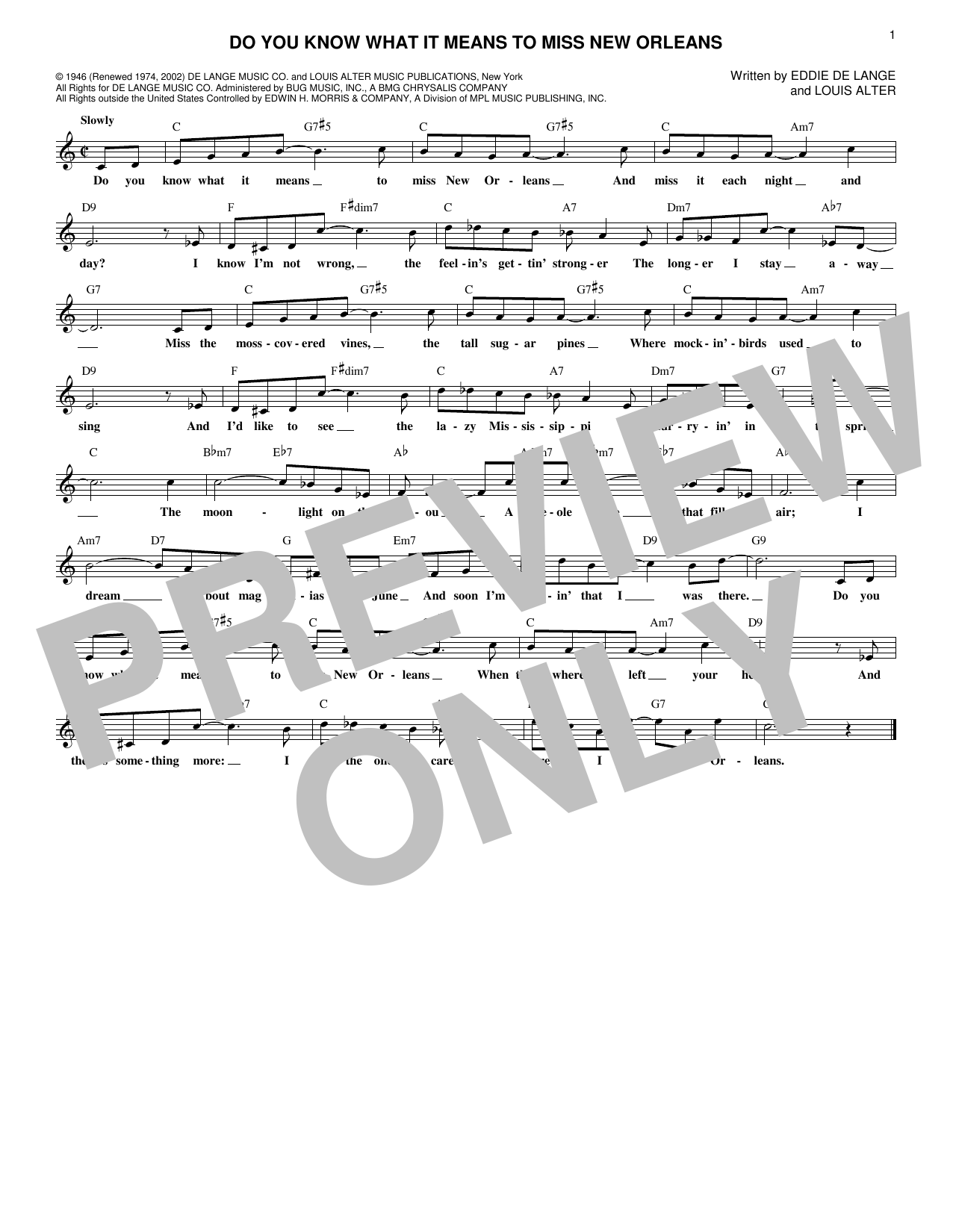 Do You Know What It Means To Miss New Orleans (Lead Sheet / Fake Book)