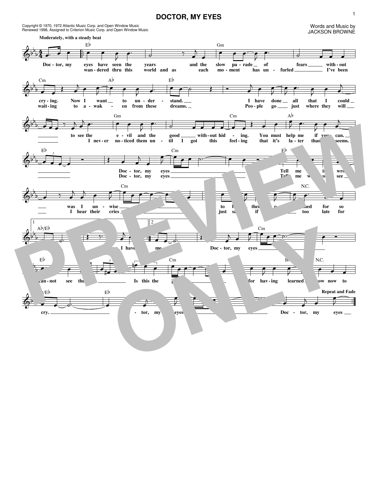 Doctor, My Eyes (Lead Sheet / Fake Book)
