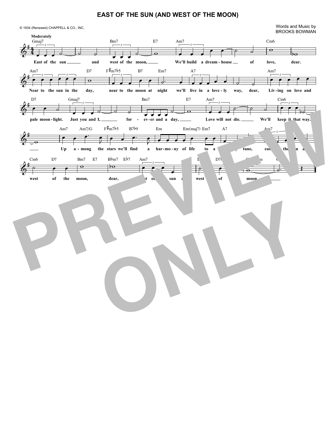 East Of The Sun (And West Of The Moon) (Lead Sheet / Fake Book)