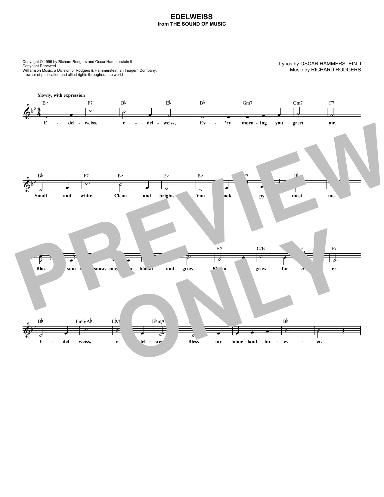Edelweiss (Lead Sheet / Fake Book)