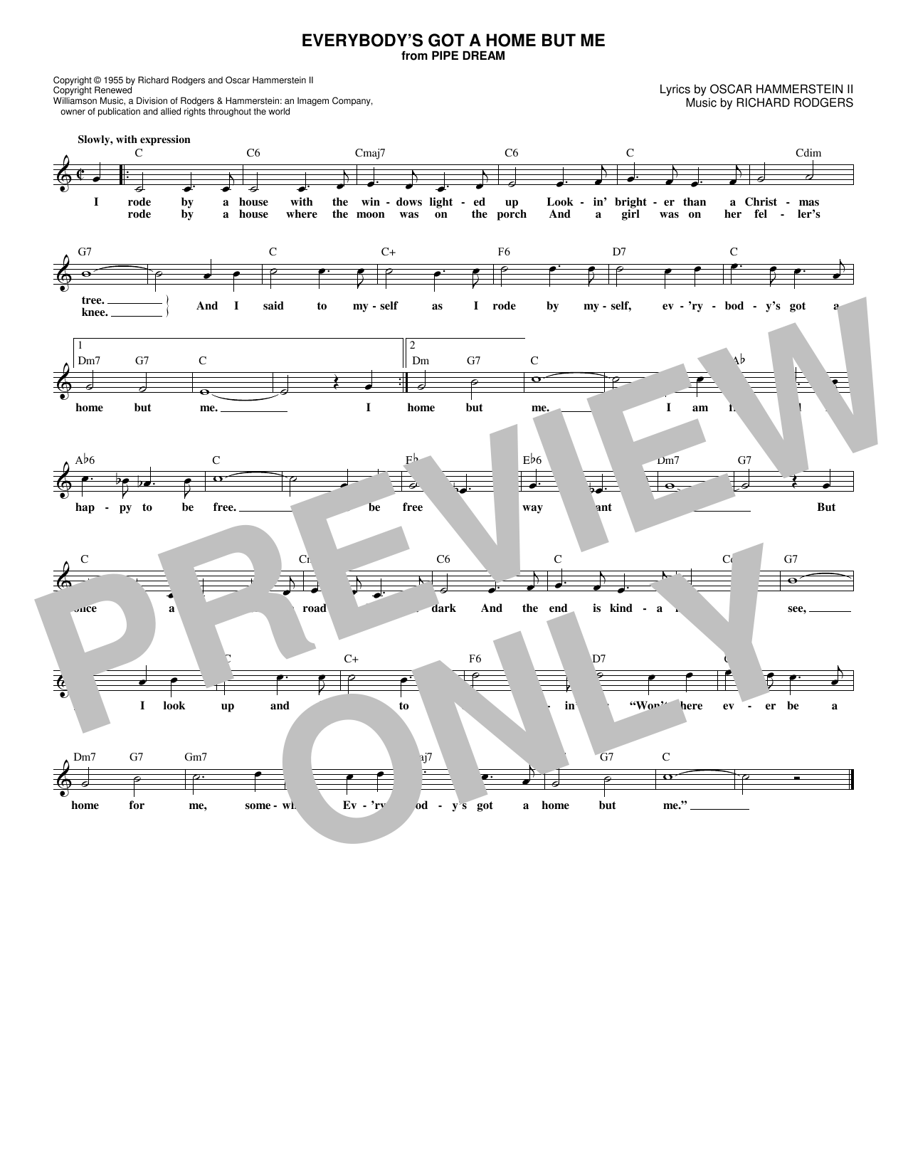 Everybody's Got A Home But Me (Lead Sheet / Fake Book)