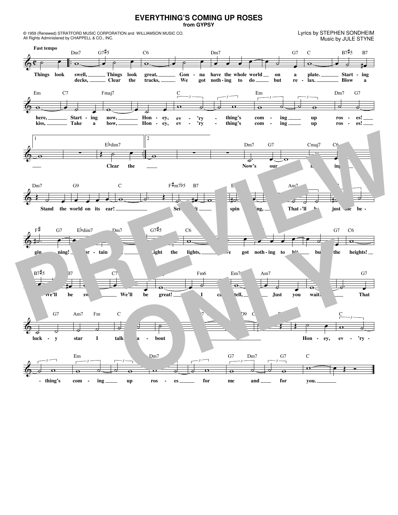 Everything's Coming Up Roses (Lead Sheet / Fake Book)