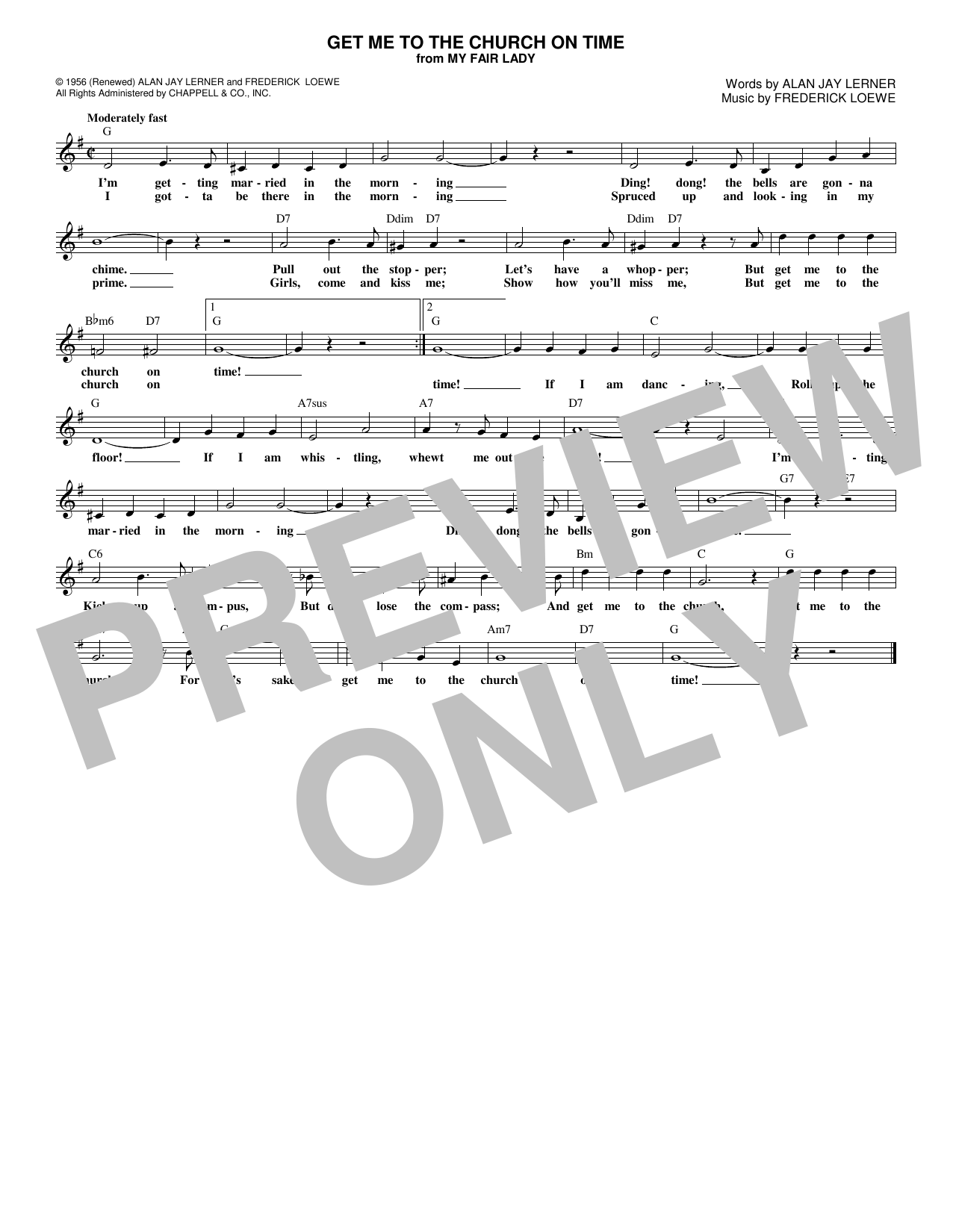 Get Me To The Church On Time (Lead Sheet / Fake Book)