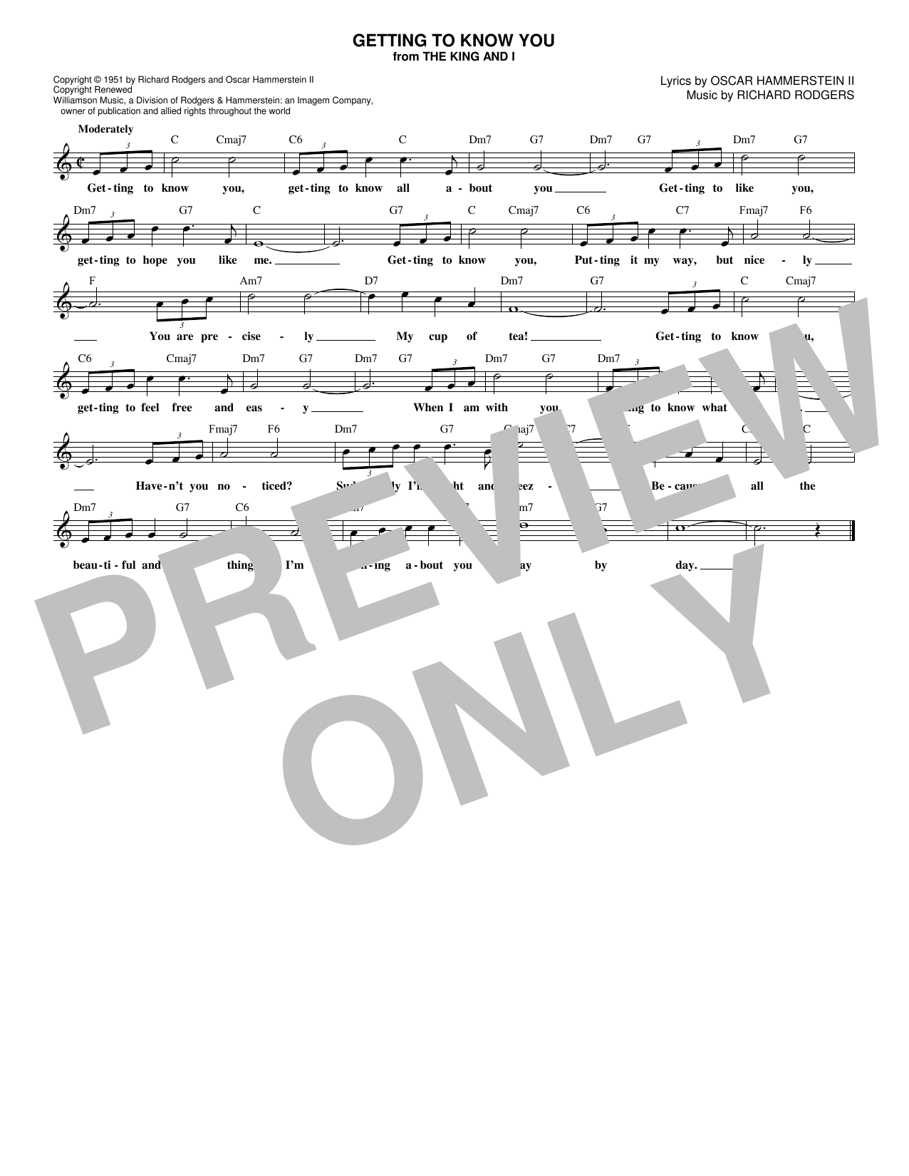 Getting To Know You (Lead Sheet / Fake Book)