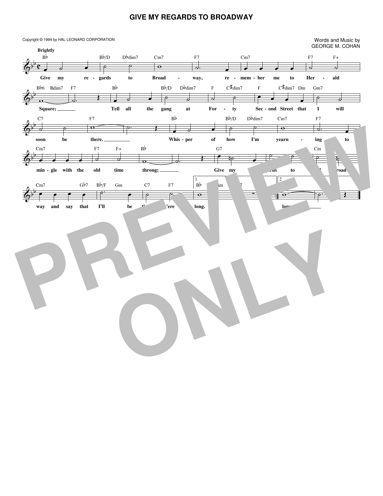 Give My Regards To Broadway (Lead Sheet / Fake Book)