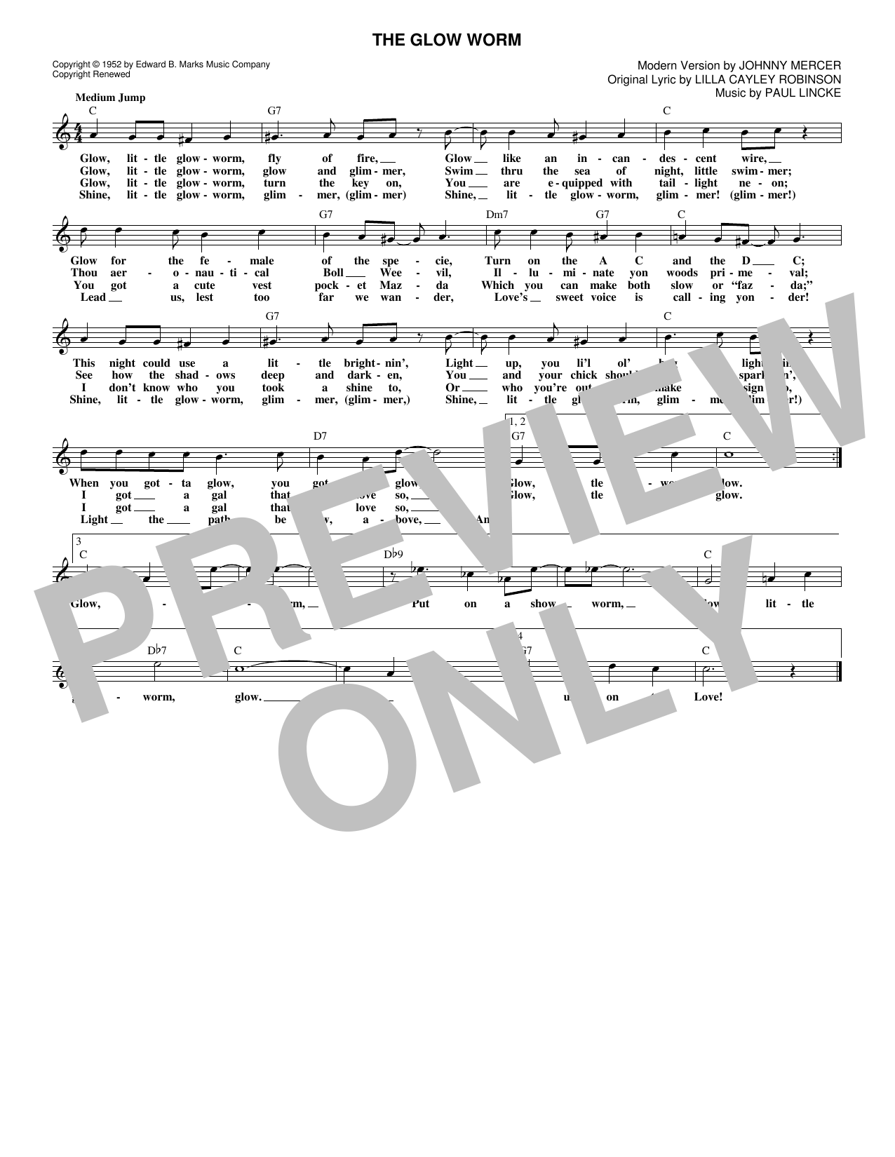 The Glow Worm (Lead Sheet / Fake Book)