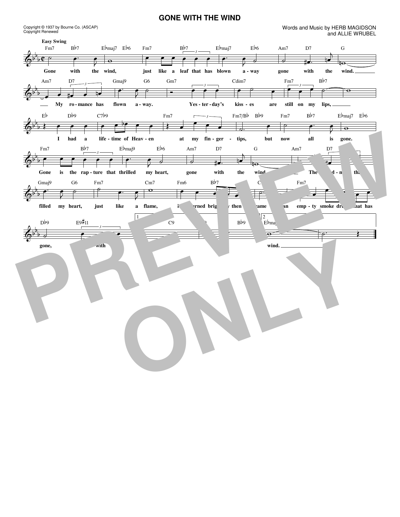 Gone With The Wind (Lead Sheet / Fake Book)