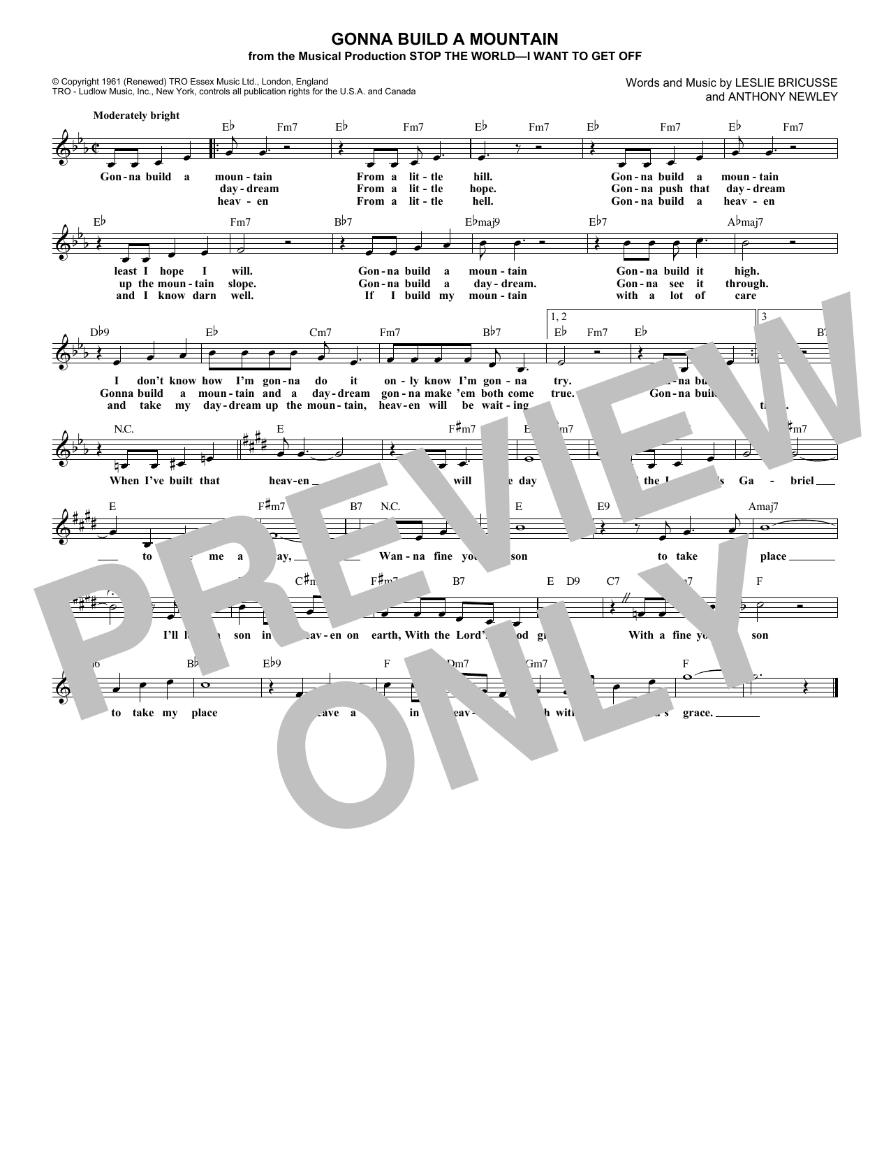 Gonna Build A Mountain (Lead Sheet / Fake Book)