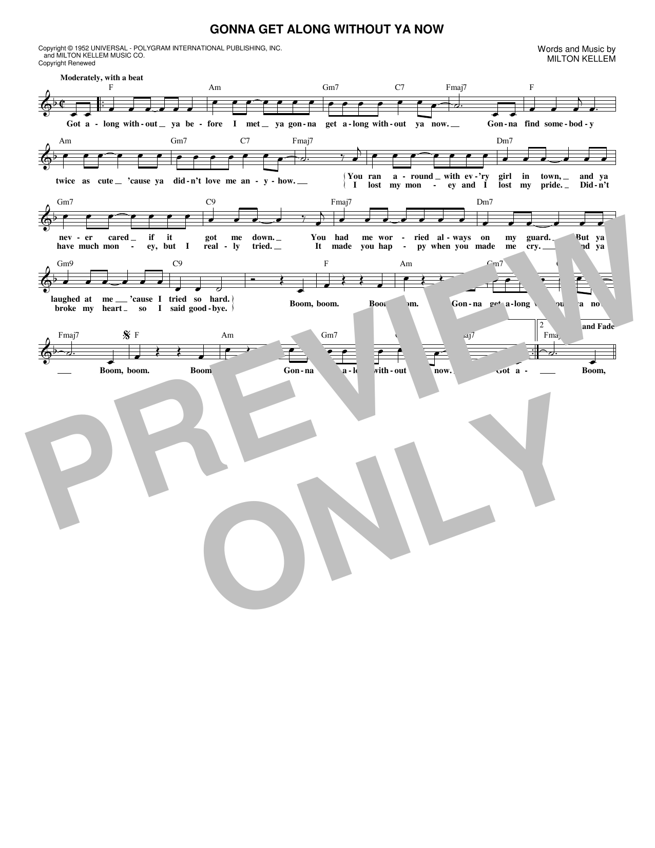 Gonna Get Along Without Ya Now (Lead Sheet / Fake Book)