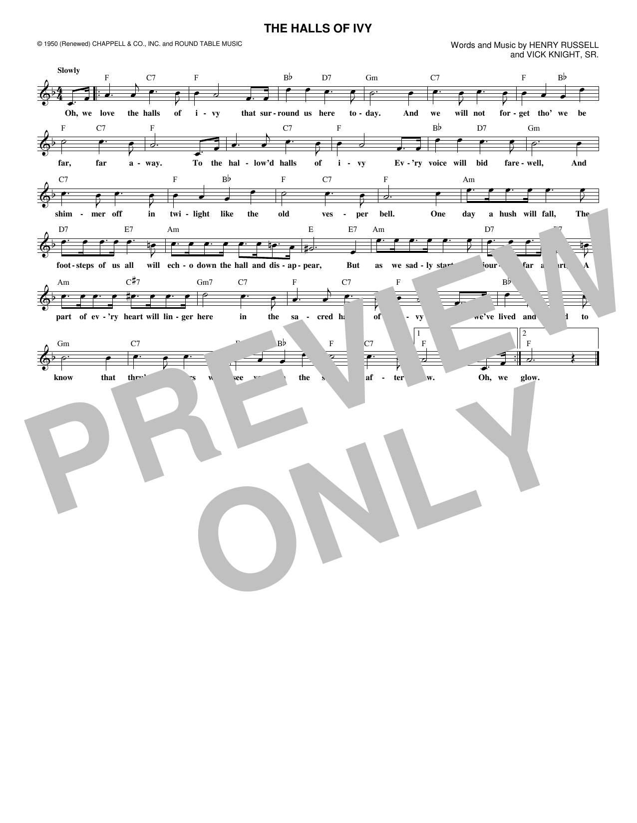 The Halls Of Ivy (Lead Sheet / Fake Book)