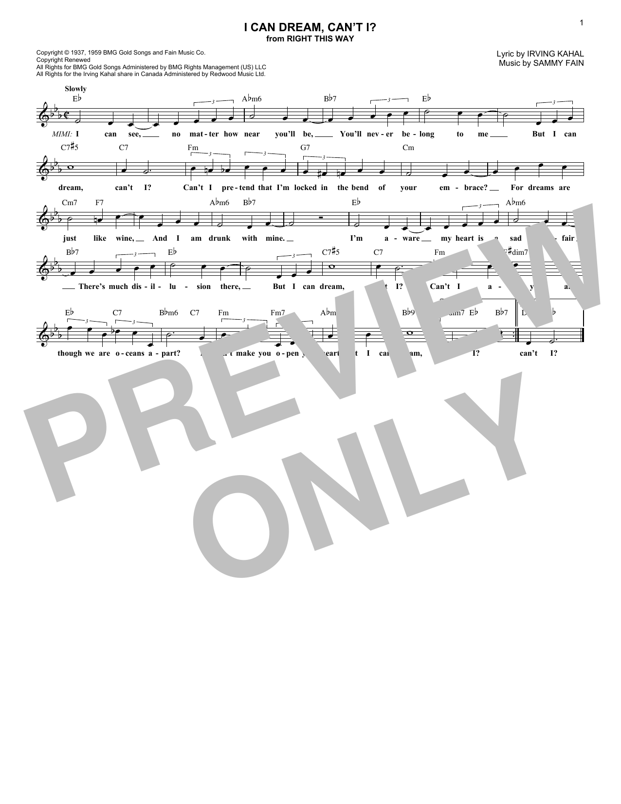 I Can Dream, Can't I? (Lead Sheet / Fake Book)