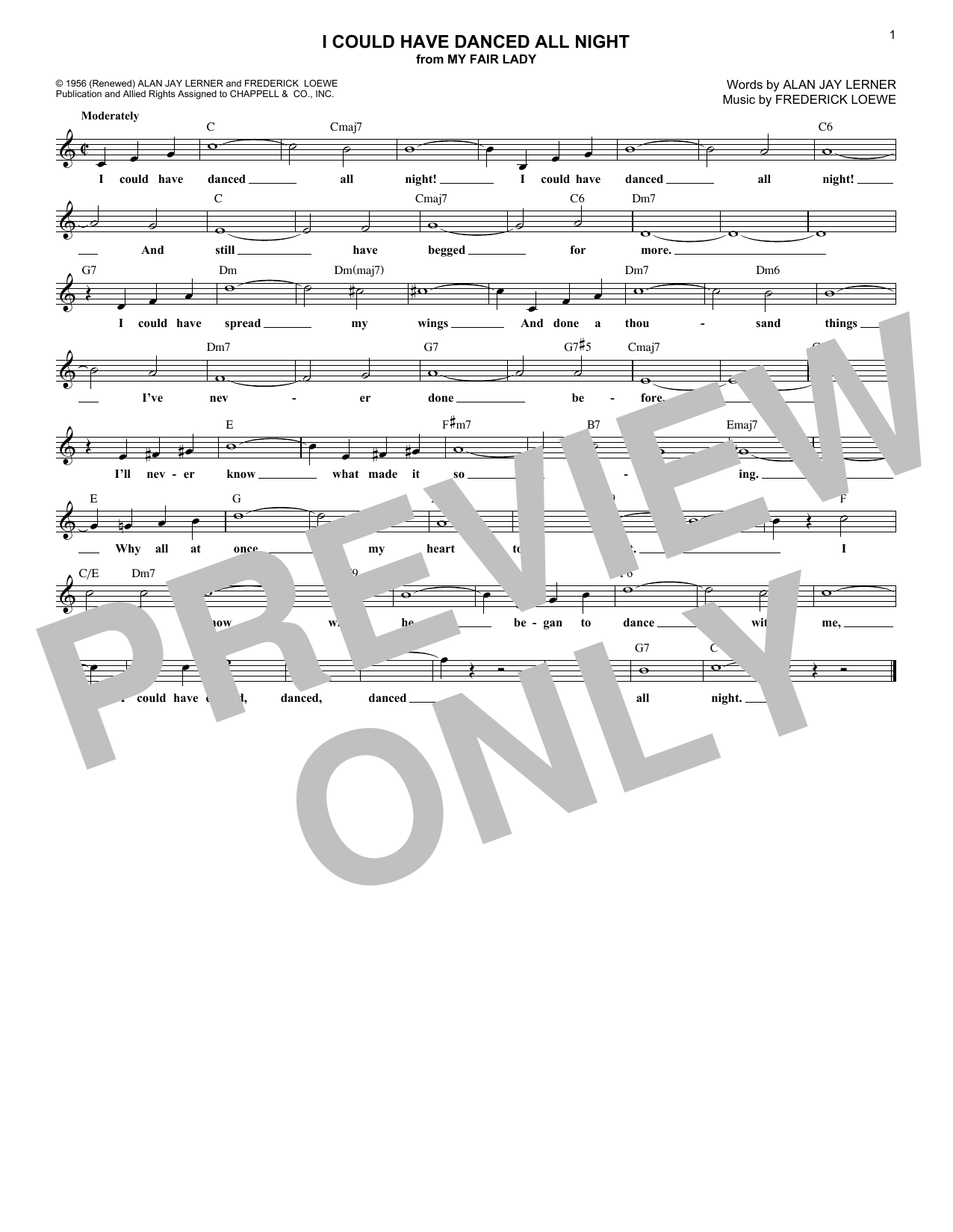 I Could Have Danced All Night (Lead Sheet / Fake Book)