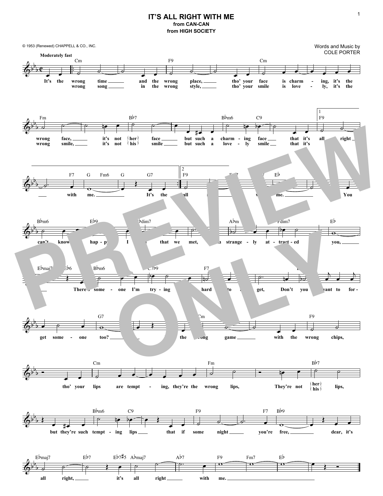 It's All Right With Me (Lead Sheet / Fake Book)