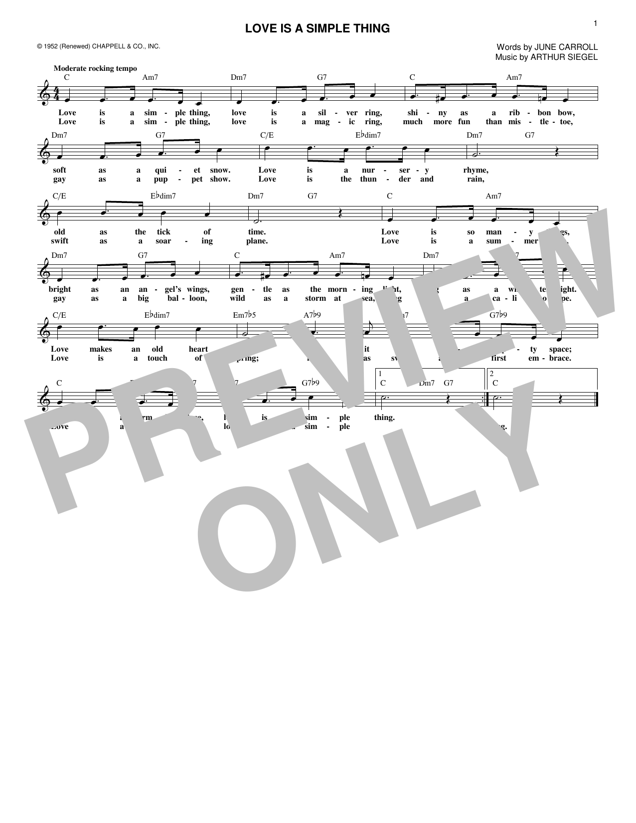 Love Is A Simple Thing (Lead Sheet / Fake Book)