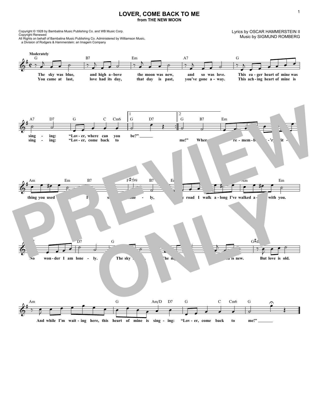 Lover, Come Back To Me (Lead Sheet / Fake Book)