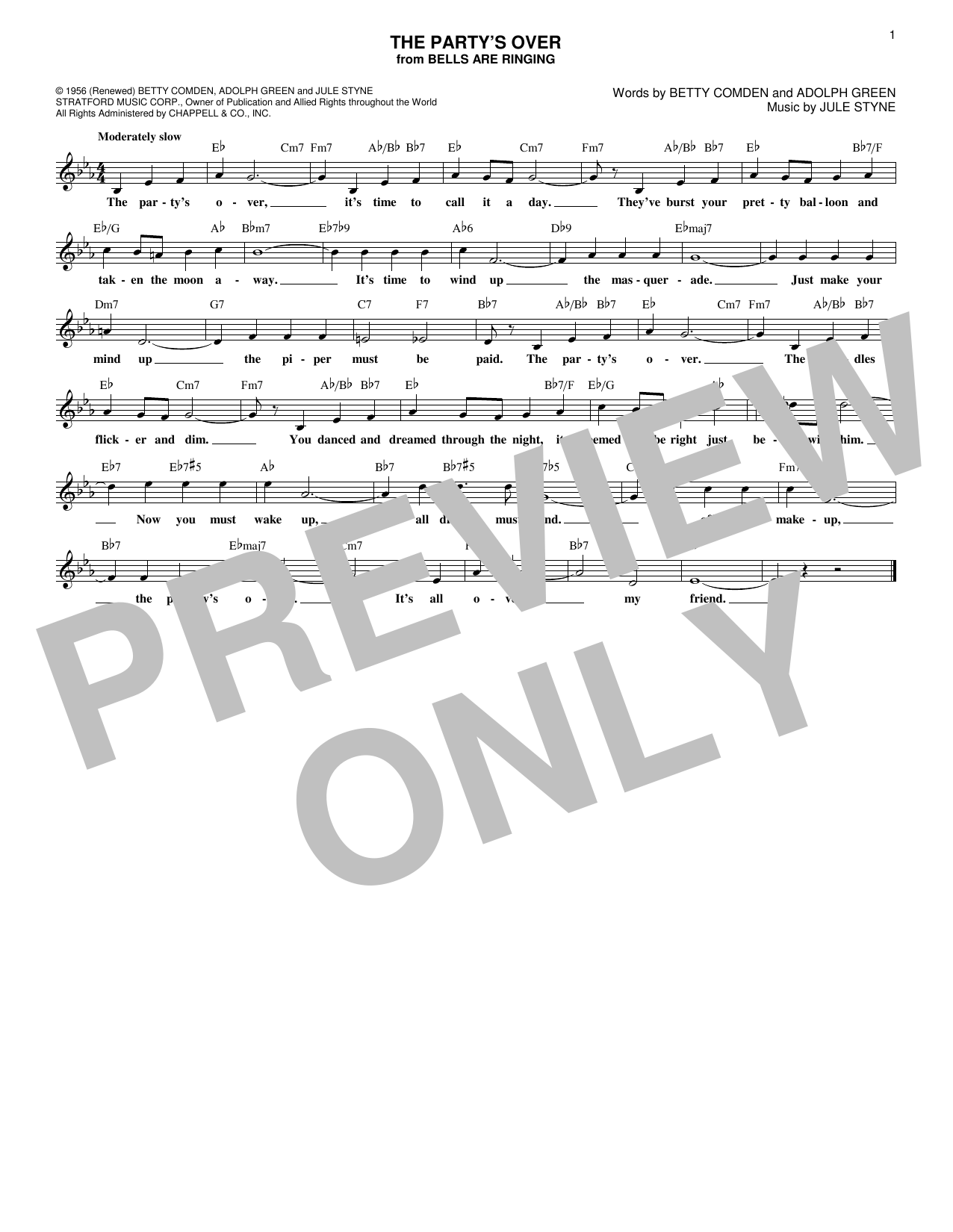 The Party's Over (Lead Sheet / Fake Book)