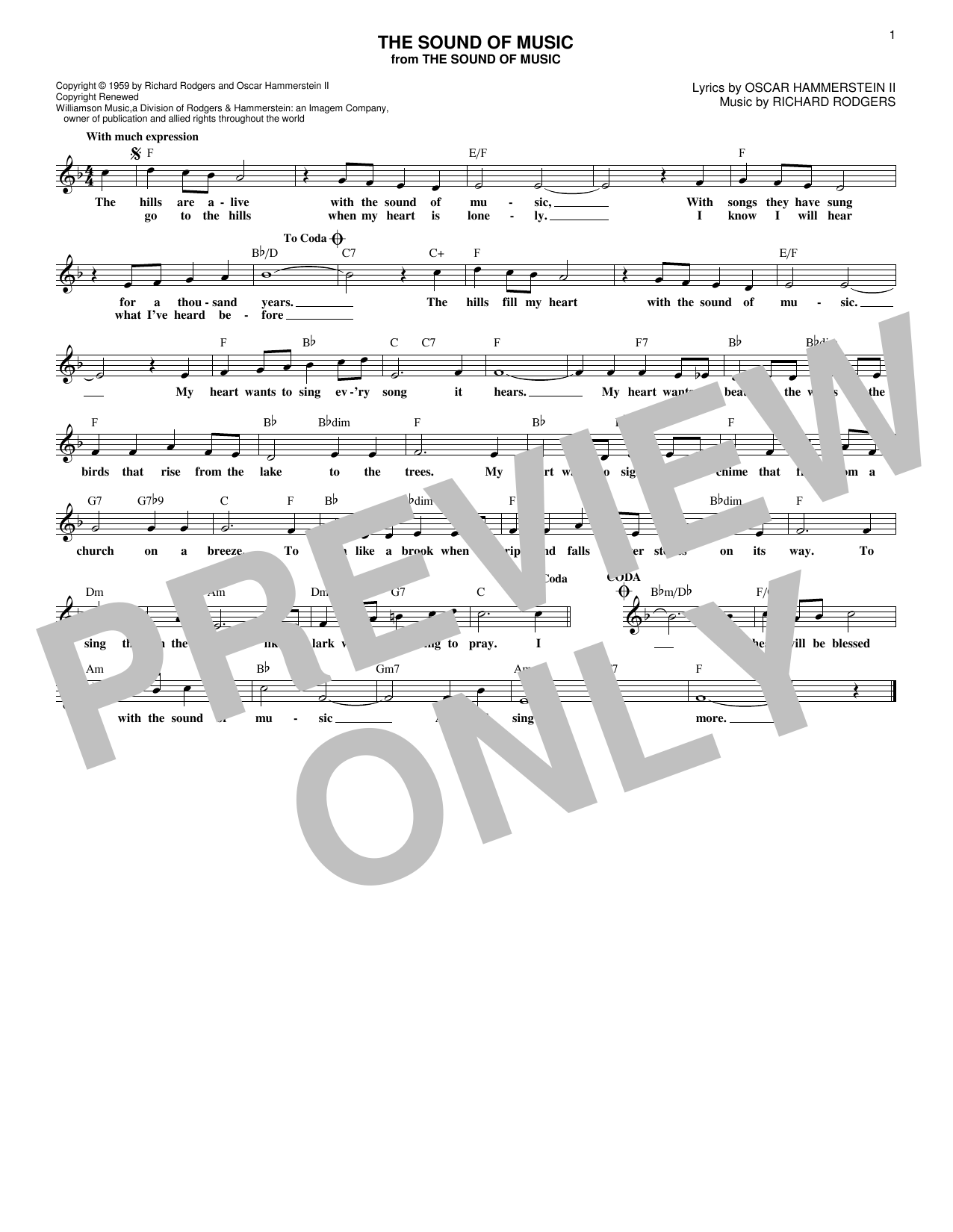 The Sound Of Music (Lead Sheet / Fake Book)