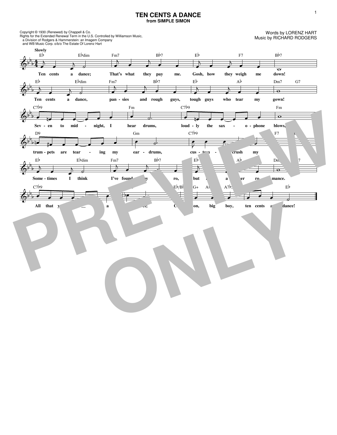 Ten Cents A Dance (Lead Sheet / Fake Book)